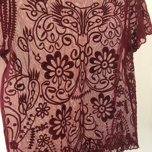 Mesh and Embroidered Maroon Top